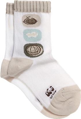 Organik Dünya Desenli Bebek Soket Çorap