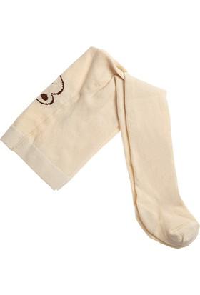 Organik Ayı Desenli Bebek Külotlu Çorap