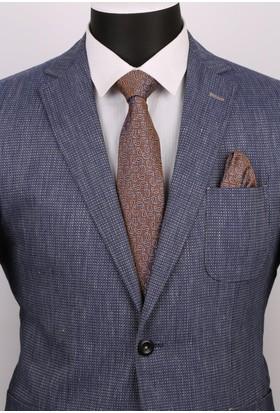 La Pescara Kahverengi Şal Desen Mendilli Klasik Kravat 2524