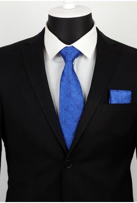 La Pescara Mavi Şal Desen Mendilli Klasilk Kravat 2418