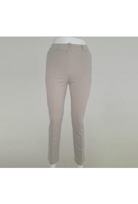 Ruşetül Cotton Kadın Büyük Beden Pantolon Bej