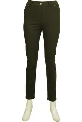 Ruşetül Cotton Kadın Büyük Beden Pantolon Askeri Yeşil