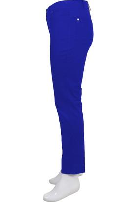 Ruşetül Cotton Kadın Büyük Beden Pantolon Saks Mavisi