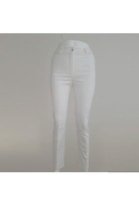 Ruşetül Cotton Kadın Büyük Beden Pantolon Beyaz