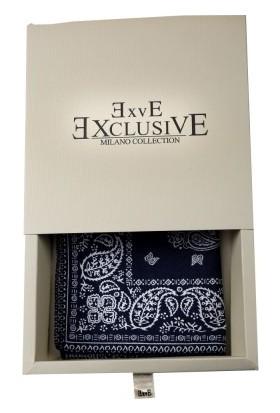 Exve Exclusive Lacivert Beyaz Şal Desen Kravat Yaka Cep Mendili CM1560