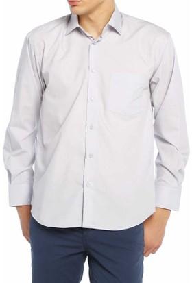 Aln Açık Gri Klasik Kesim Düz Renk Uzun Kol Erkek Gömlek - 950-29
