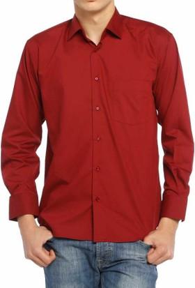 Aln Bordo Klasik Kesim Düz Renk Uzun Kol Erkek Gömlek - 950-013