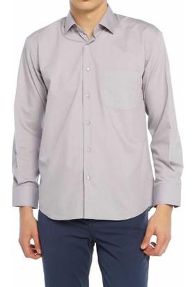Aln Koyu Gri Klasik Kesim Düz Renk Uzun Kol Erkek Gömlek - 950-611