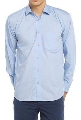 Aln Koyu Mavi Klasik Kesim Düz Renk Uzun Kol Erkek Gömlek - 950-23