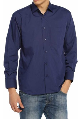 Aln Lacivert Klasik Kesim Düz Renk Uzun Kol Erkek Gömlek - 950-35