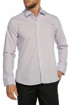 Aln Lila Slim Fit Düz Renk Uzun Kol Erkek Gömlek - 951-6