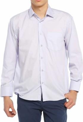 Aln Lila Klasik Kesim Düz Renk Uzun Kol Erkek Gömlek - 950-6