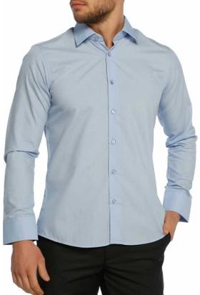 Aln Mavi Slim Fit Düz Renk Uzun Kol Erkek Gömlek - 951-5