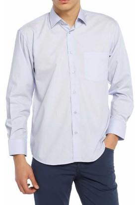 Aln Mavi Klasik Kesim Düz Renk Uzun Kol Erkek Gömlek - 950-5