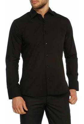 Aln Siyah Slim Fit Düz Renk Uzun Kol Erkek Gömlek - 951-20