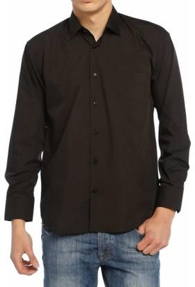 Aln Siyah Klasik Kesim Düz Renk Uzun Kol Erkek Gömlek - 950-20