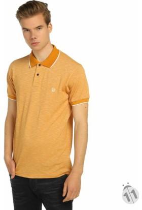 Baruğ Kendinden Desenli Polo Yaka Erkek Lakos T-Shirt - 42111-Safran