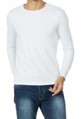 Baruğ Sıfır Yaka Likralı Uzun Kol Basic Body Sweatshirt - 39519-Beyaz