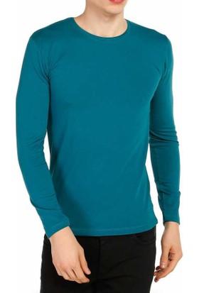 Baruğ Sıfır Yaka Likralı Uzun Kol Basic Body Sweatshirt - 41486-Petrol