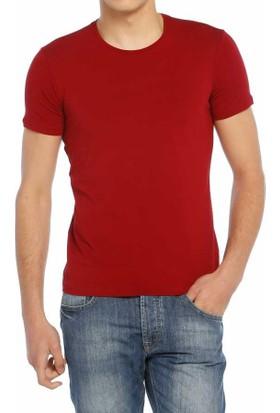 Baruğ Sıfır Yaka Düz Renk Likralı Basic Erkek Tişört-T-Shirt 40506-Bordo