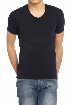 Baruğ V Yaka Düz Renk Likralı Basic Erkek Tişört-T-Shirt 40505-Lacivert