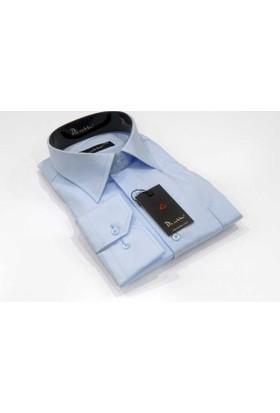 Dicotto Açık Mavi Büyük Beden Düz Renk Uzun Kol Klasik Erkek Gömlek - 150-3