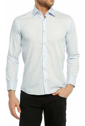 Dicotto Açık Mavi Slim Fit Düz Renk Uzun Kol Erkek Gömlek - 151-3