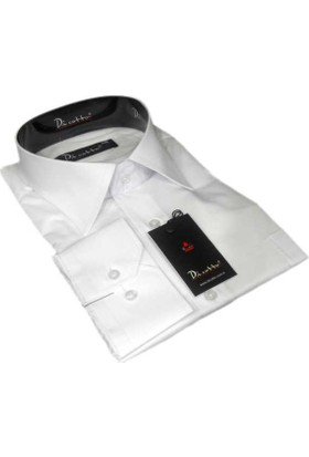 Dicotto Beyaz Büyük Beden Düz Renk Uzun Kol Klasik Erkek Gömlek - 150-1