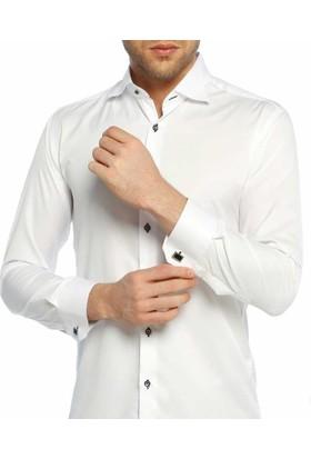 Dicotto Beyaz Düz Ata Yaka Kol Düğmeli Slim Fit Smokin Gömlek - 001-Beyaz