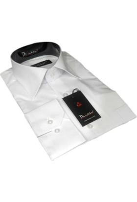 Dicotto Beyaz Klasik Kesim Uzun Kol Düz Renk Erkek Gömlek - 150-1