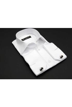 Dicotto Beyaz Micro Kumaş Kol Düğmeli Slim Fit Düz Renk Gömlek - 199-1