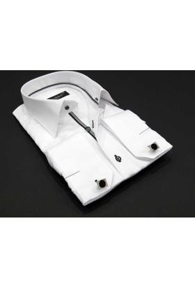 Dicotto Beyaz Micro Kumaş Kol Düğmeli Slim Fit Düz Renk Gömlek - 201-1