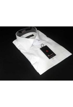 Dicotto Beyaz Klasik Kesim Düz Renk Kısa Kol Erkek Gömlek - 500-1