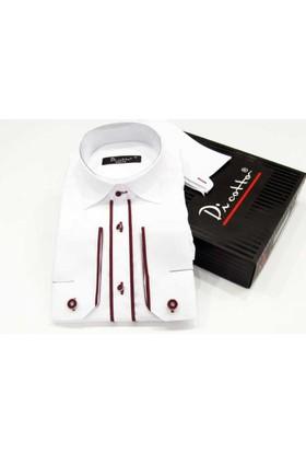 Dicotto Bordo Bieli Beyaz Ata Yaka Kol Düğmeli Slim Fit Smokin Gömlek - 005-Beyaz