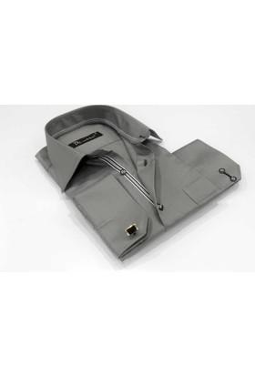 Dicotto Gri Klasik Kesim Micro Kumaş Kol Düğmeli Erkek Gömlek - 190-7