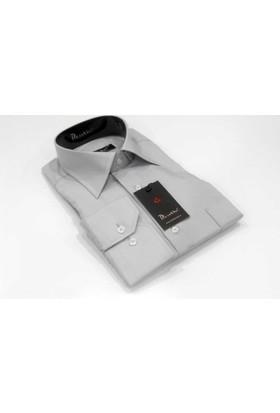 Dicotto Gri Klasik Kesim Uzun Kol Düz Renk Erkek Gömlek - 150-2