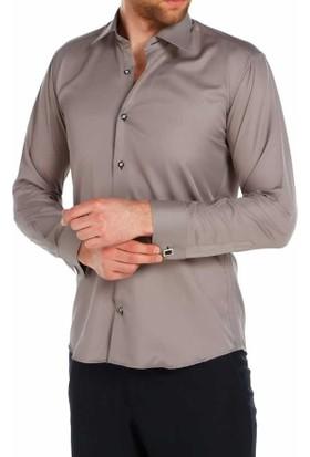 Dicotto Gri Micro Kumaş Kol Düğmeli Slim Fit Düz Renk Gömlek - 201-7