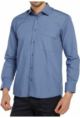 Dicotto İndigo Klasik Kesim Uzun Kol Düz Renk Erkek Gömlek - 150-15_