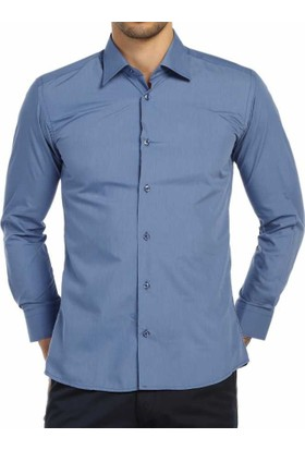 Dicotto İndigo Slim Fit Düz Renk Uzun Kol Erkek Gömlek - 151-15_