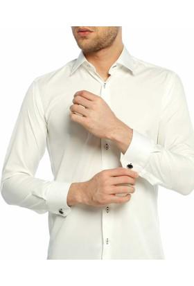 Dicotto Krem Micro Kumaş Kol Düğmeli Slim Fit Düz Renk Gömlek - 201-10