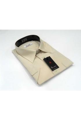 Dicotto Kum Beji Büyük Beden Kısa Kol Düz Renk Klasik Erkek Gömlek - 500-11