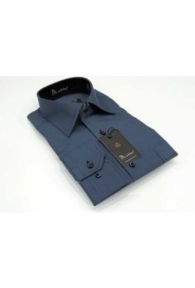 Dicotto Lacivert Büyük Beden Düz Renk Uzun Kol Klasik Erkek Gömlek - 150-35