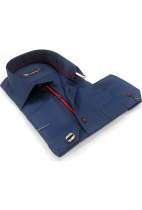 Dicotto Lacivert Klasik Kesim Micro Kumaş Kol Düğmeli Erkek Gömlek - 190-12