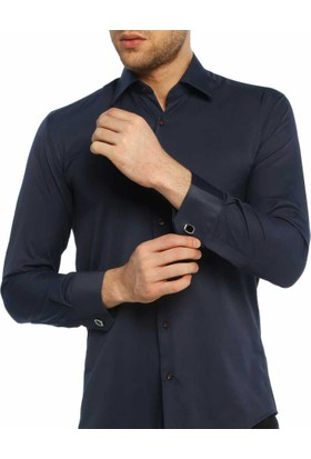 Dicotto Lacivert Micro Kumaş Kol Düğmeli Slim Fit Düz Renk Gömlek - 201-12