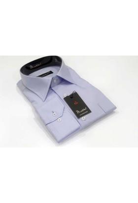 Dicotto Lila Büyük Beden Düz Renk Uzun Kol Klasik Erkek Gömlek - 150-6