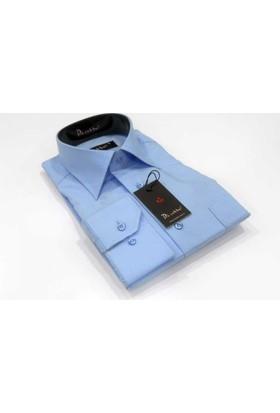 Dicotto Mavi Büyük Beden Düz Renk Uzun Kol Klasik Erkek Gömlek - 150-5