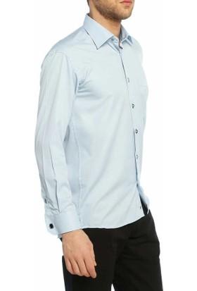 Dicotto Mavi Klasik Kesim Micro Kumaş Kol Düğmeli Erkek Gömlek - 190-4