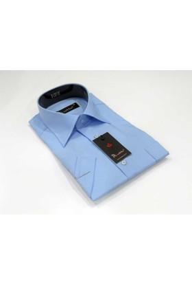 Dicotto Mavi Büyük Beden Kısa Kol Düz Renk Klasik Erkek Gömlek - 500-5