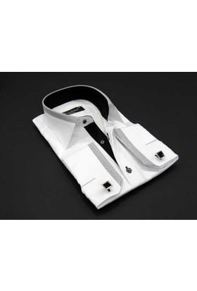 Dicotto Micro Kumaş Kol Düğmeli Slim Fit Beyaz Gömlek - 200-2