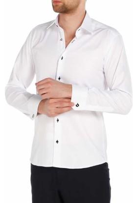 Dicotto Micro Kumaş Kol Düğmeli Slim Fit Beyaz Gömlek - Taş Düğmeli- 220-1